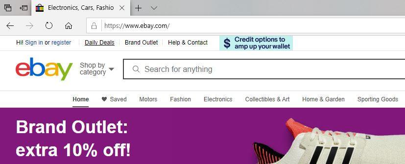 EBay with https symbol.