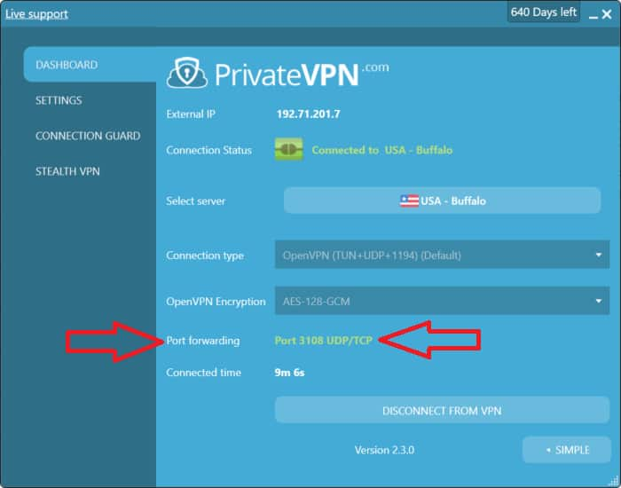 privatevpn port forwarding ss