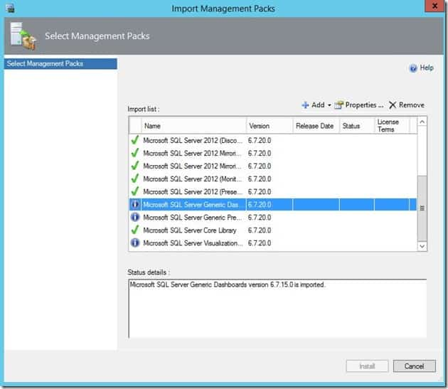 Import management packs screenshot