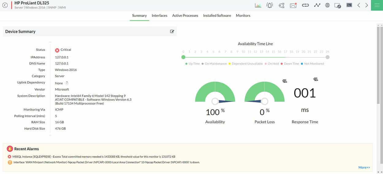 ManageEngine HP Device Monitoring