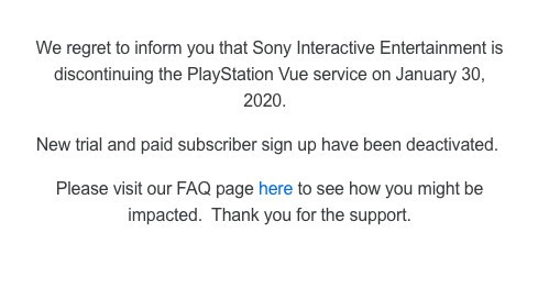 PlayStation Vue notice