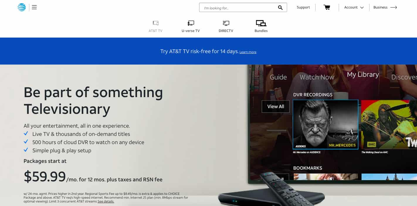 AT&T TV homepage screenshot