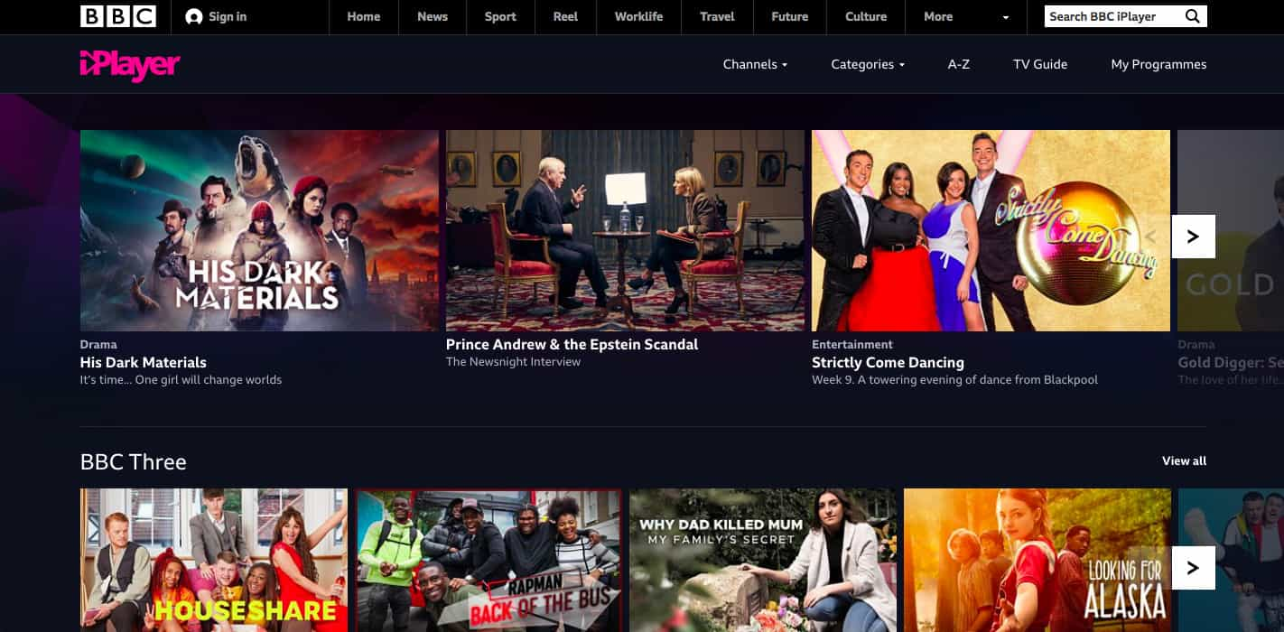 BBC iPlayer homepage screenshot