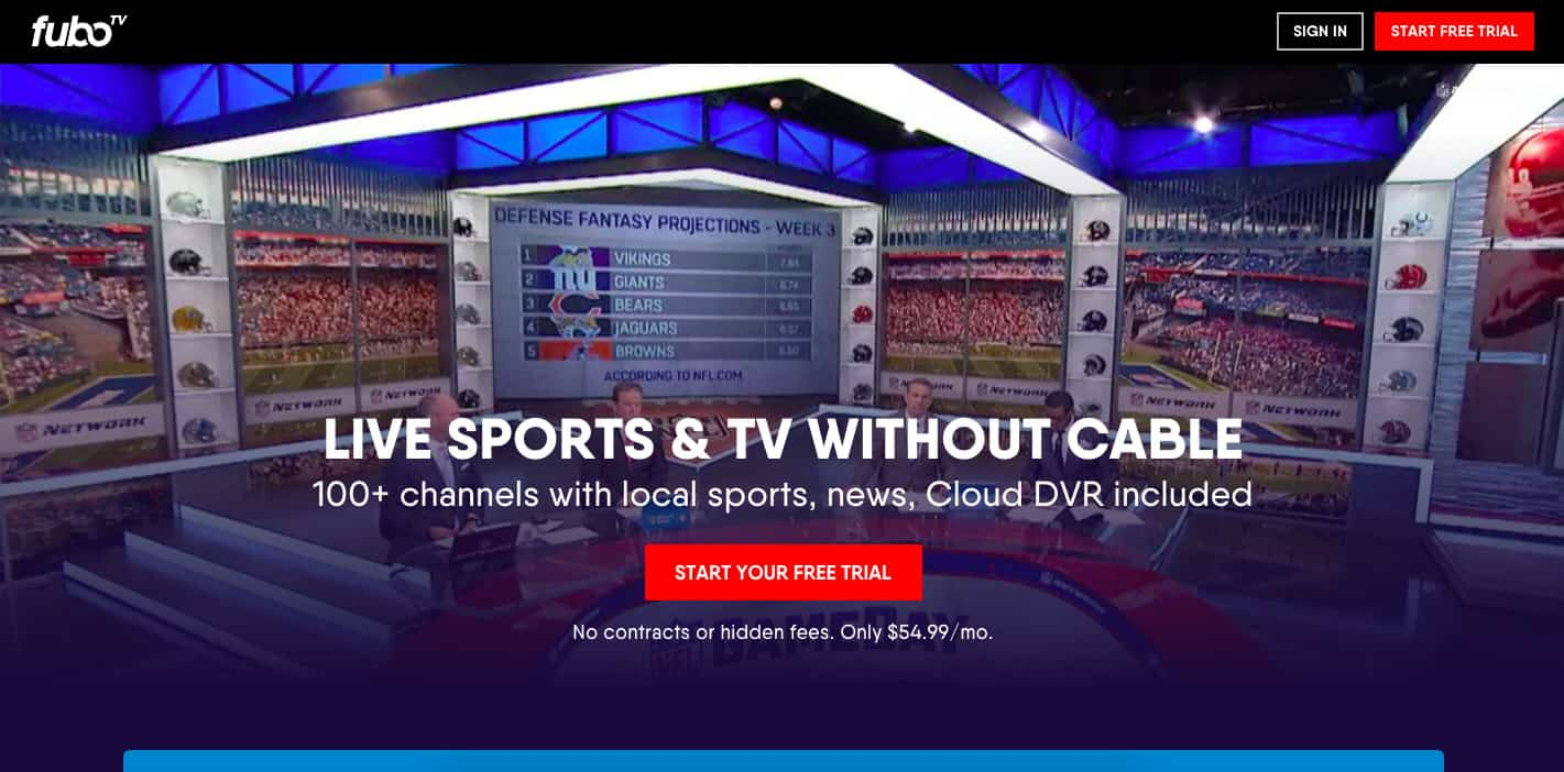 FuboTV homepage screenshot