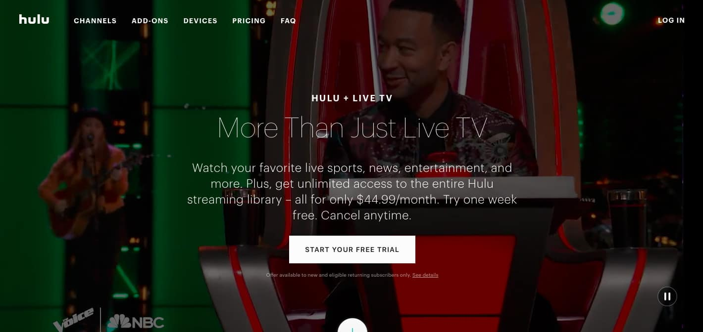 Hulu Live TV homepage screenshot