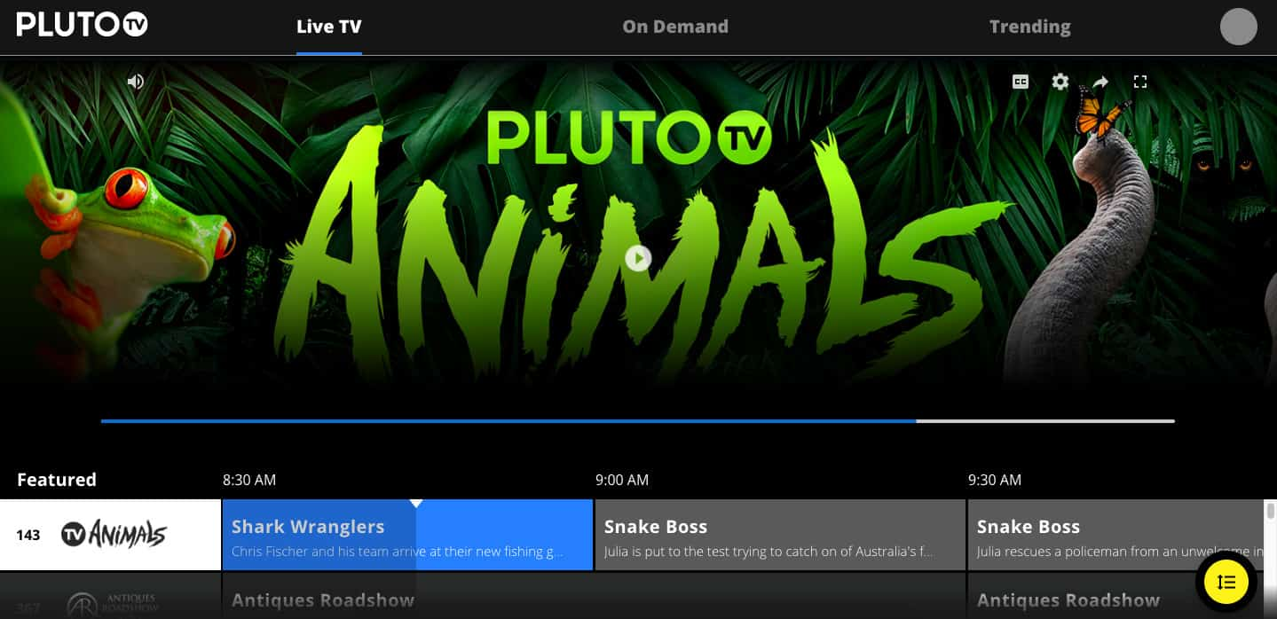 Pluto TV homepage screenshot