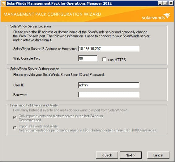 SolarWinds Management Pack