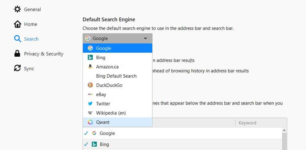Firefox search engine dropdown menu.