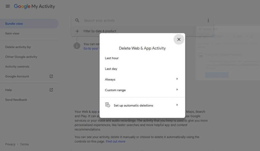 Delete Web & App Activity popup.