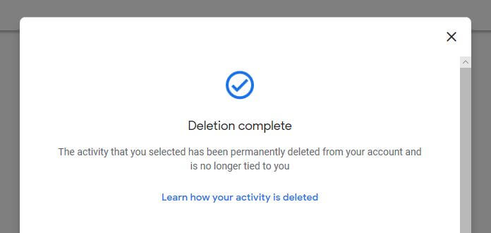 Deletion complete confirmation screen.