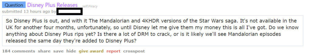Disney Plus reddit torrent piracy