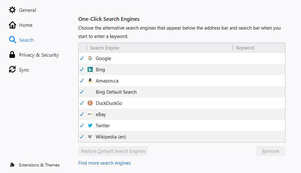 Firefox Search settings page.