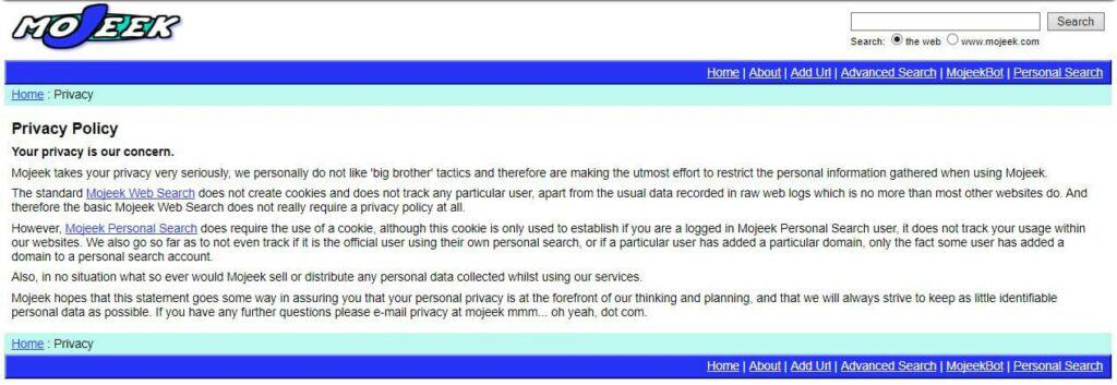Mojeek's archived privacy policy.