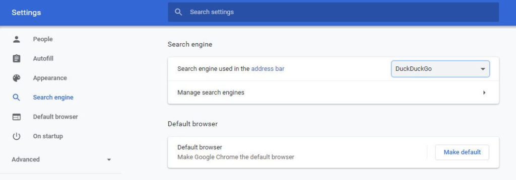 Chrome settings screen.