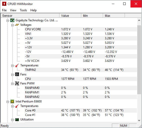 HWMonitor screenshot