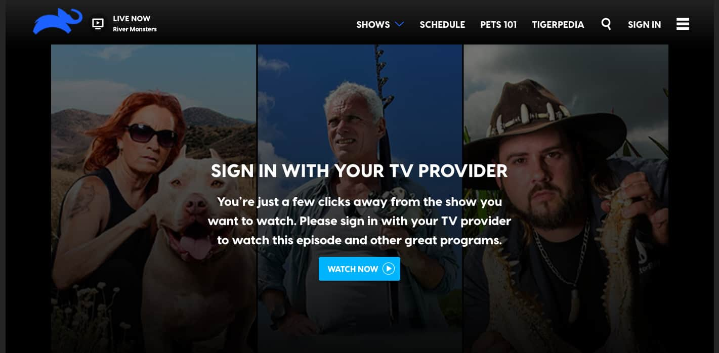 Animal Planet sign in TV provider