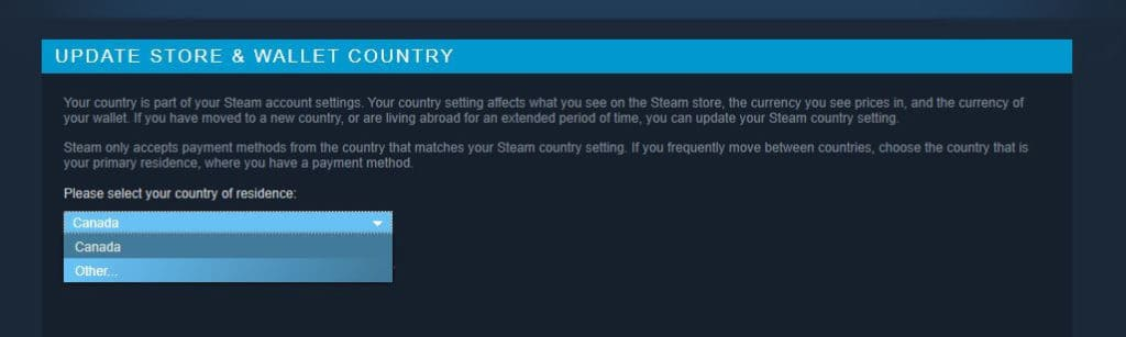 Change store country screen.