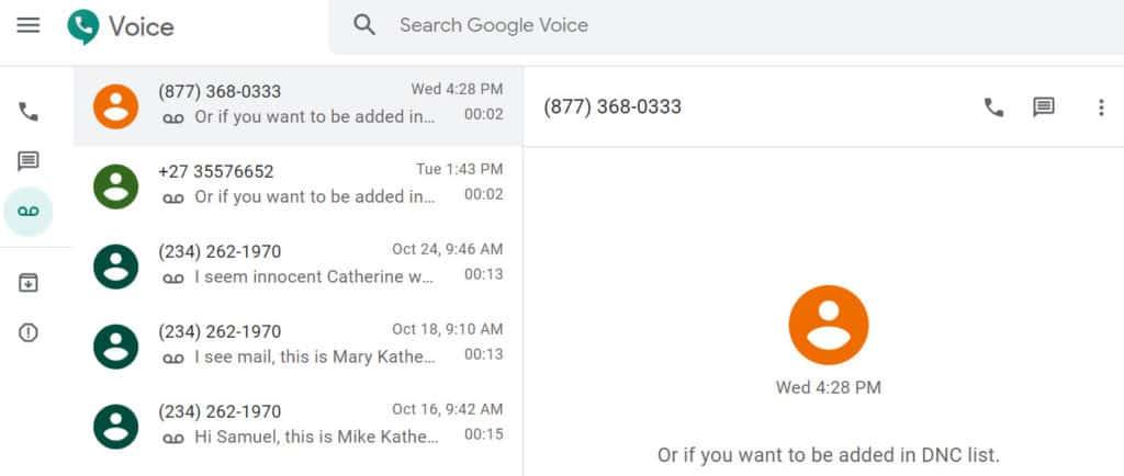 Google Voice phone spam blocking