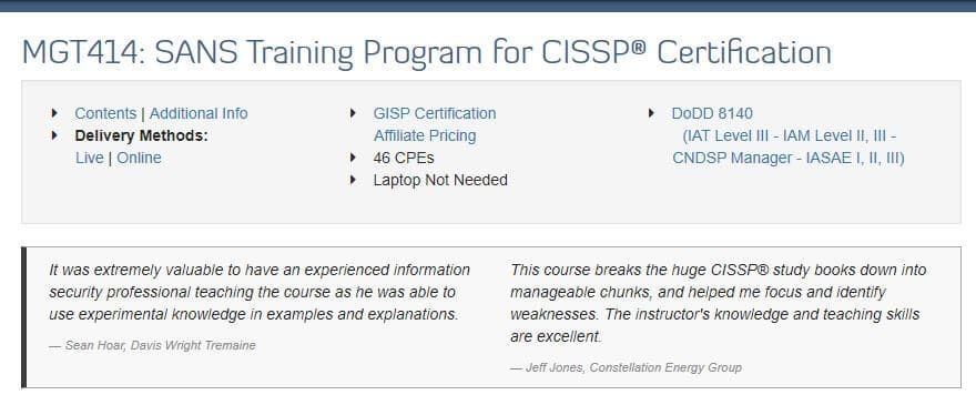 SANS: MGT414: SANS Training Program for CISSP® Certification