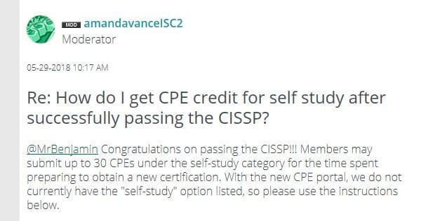 CPE forum answer.