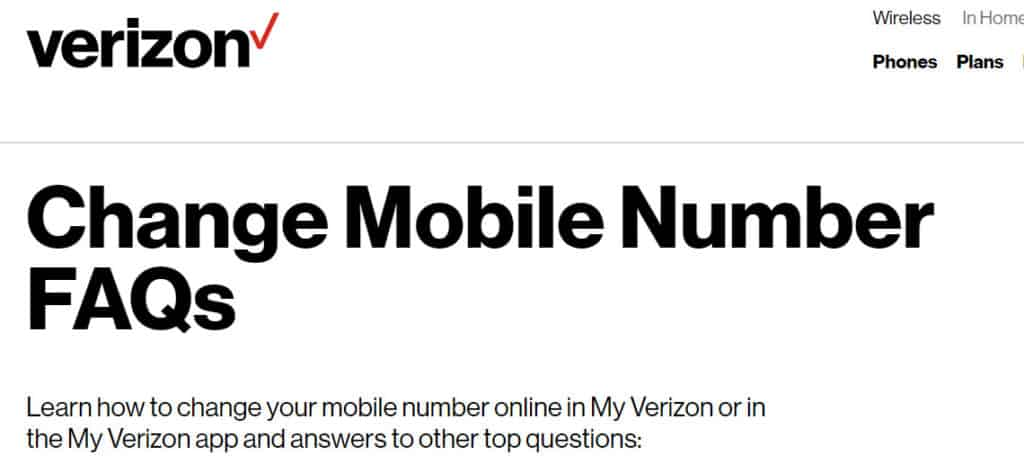 verizon number change