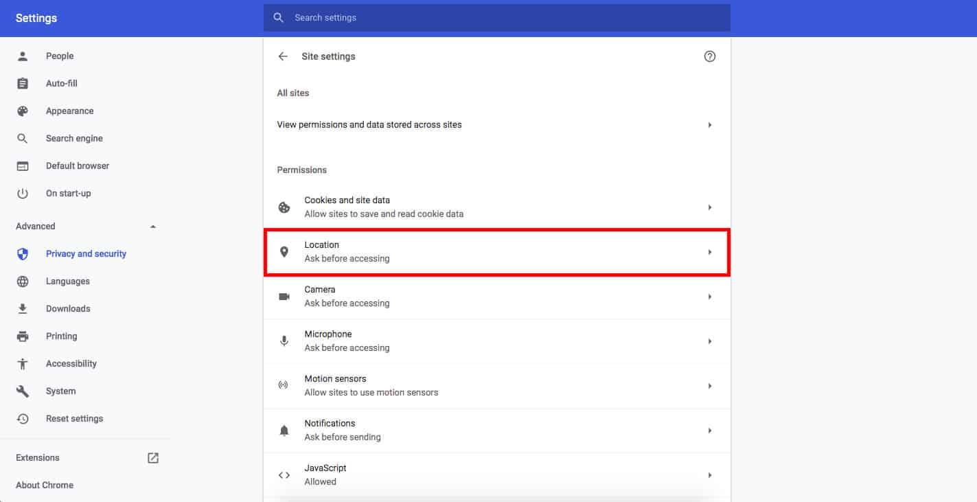 Google Chrome location settings