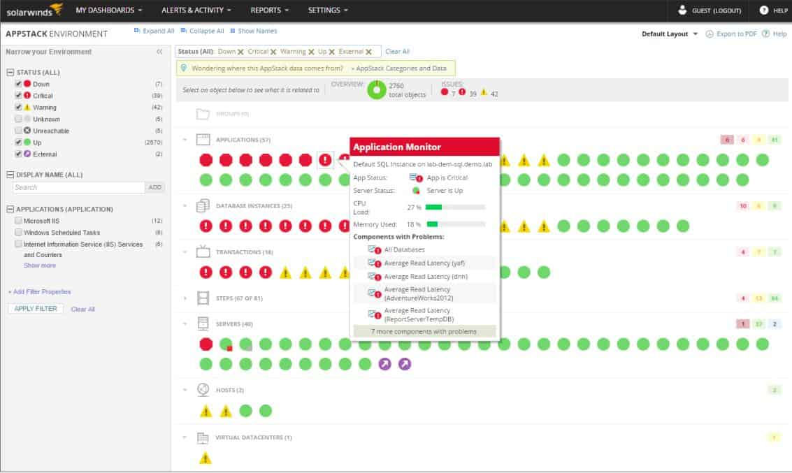 SolarWinds Systems Management Bundle - AppStack Environment systems status view