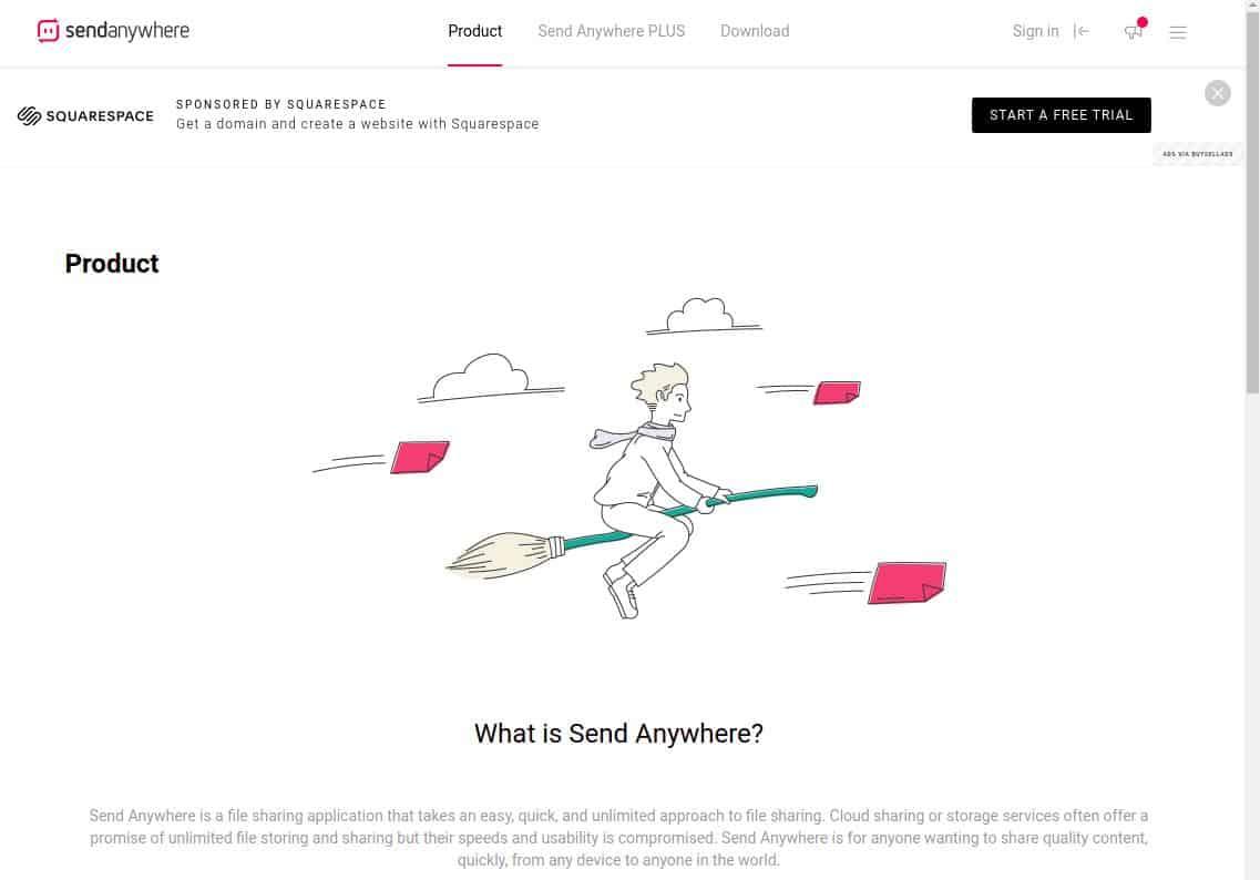 sendanywhere.com screenshot