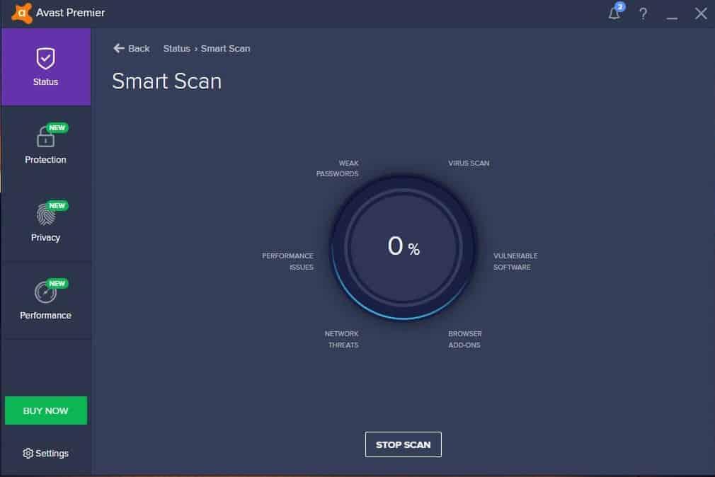 Avast premium security interface