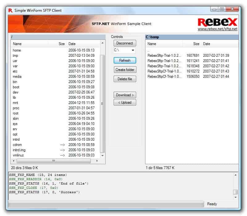 Rebex Tiny Sftp Server