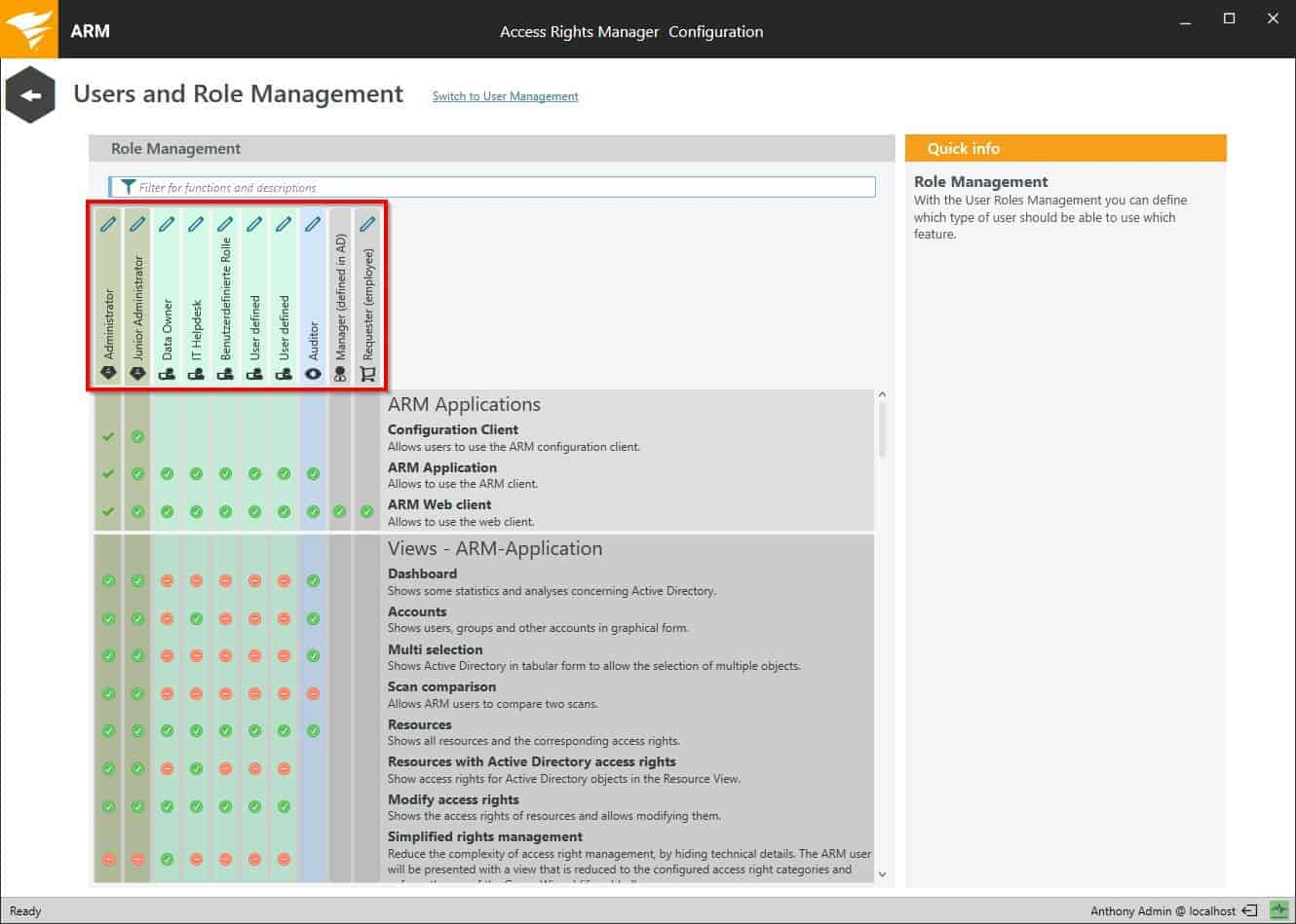 SolarWinds Access Rights Manager dashbord