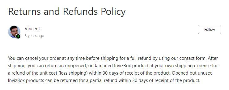 InvizBox review refunds policy.