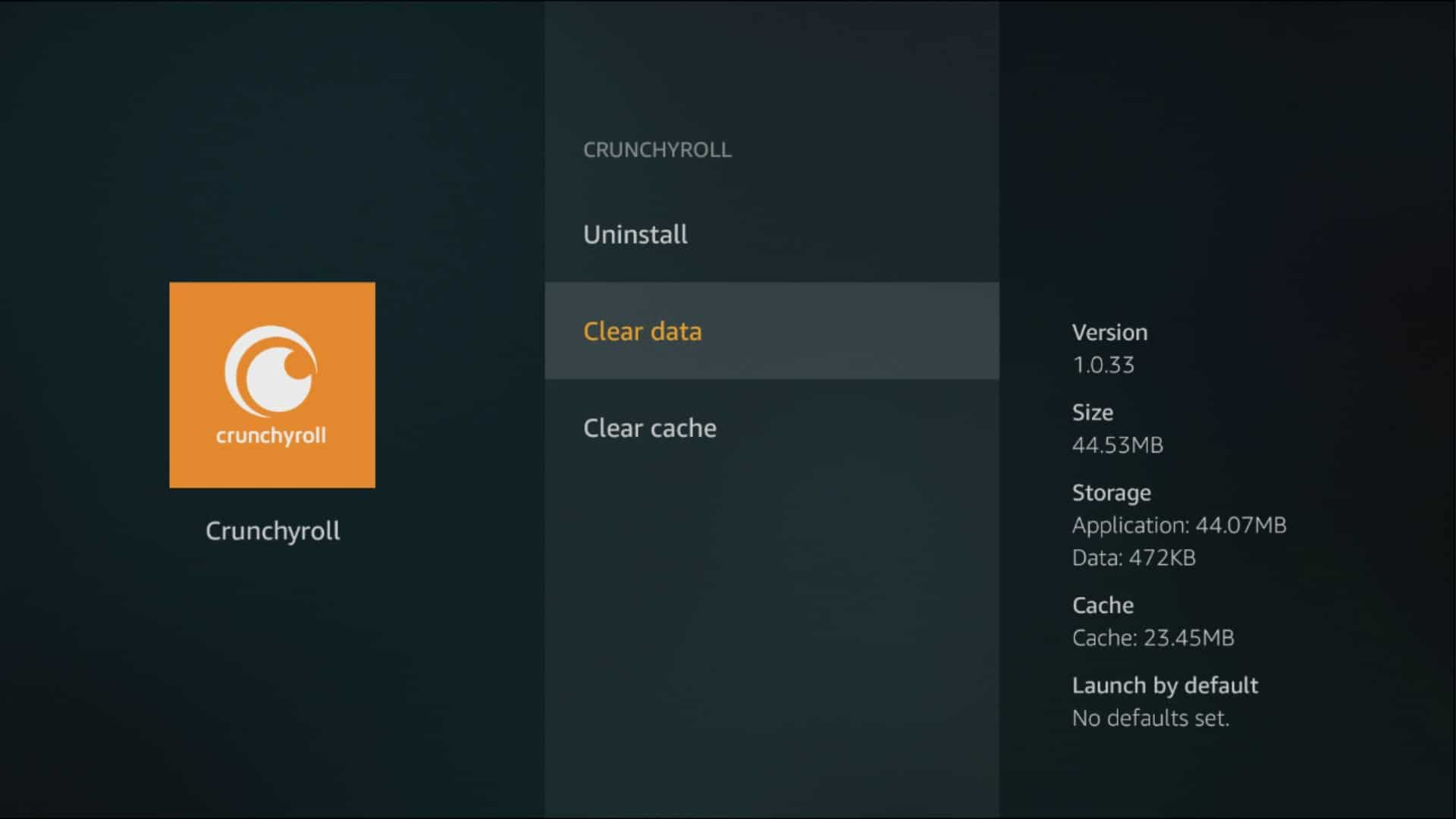 fire tv clear data clear cache