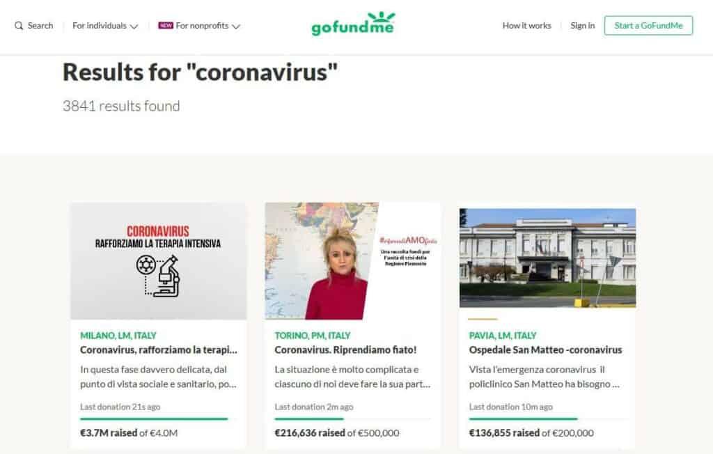 GoFundMe coronavirus pages.