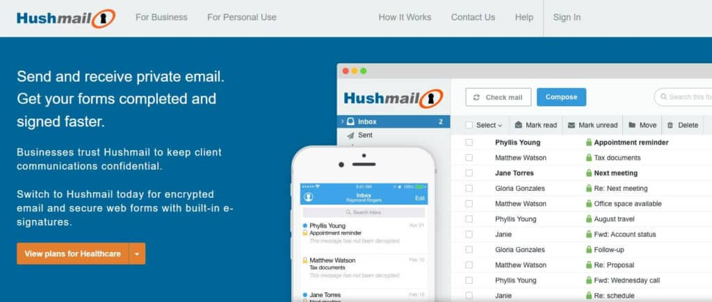 The Hushmail homepage.