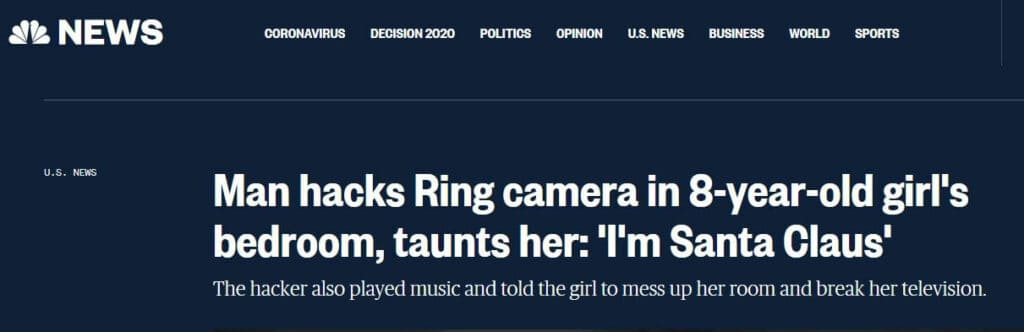 Ring camera headline.
