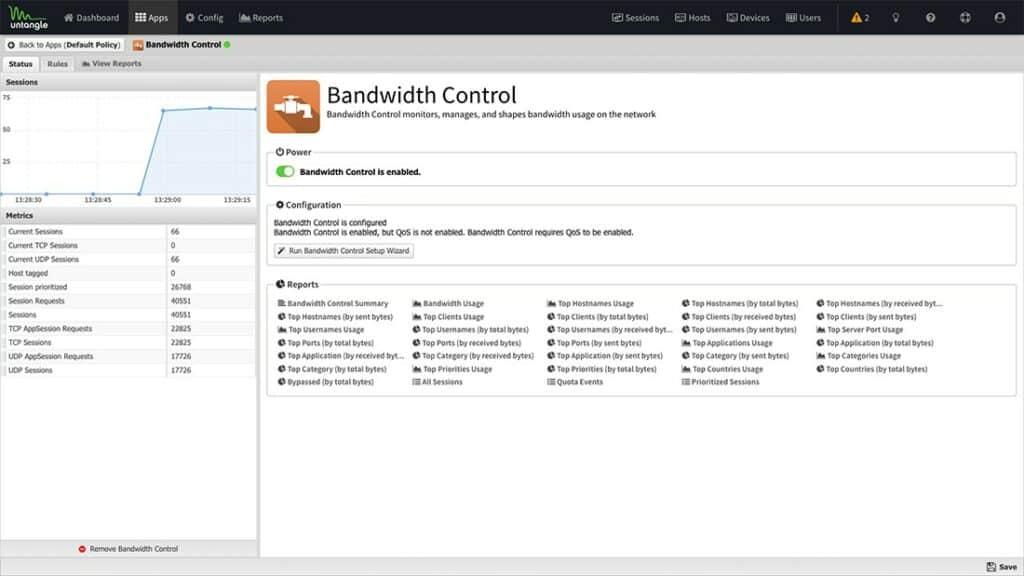 Untangle Bandwidth Control