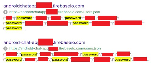 firebase search results