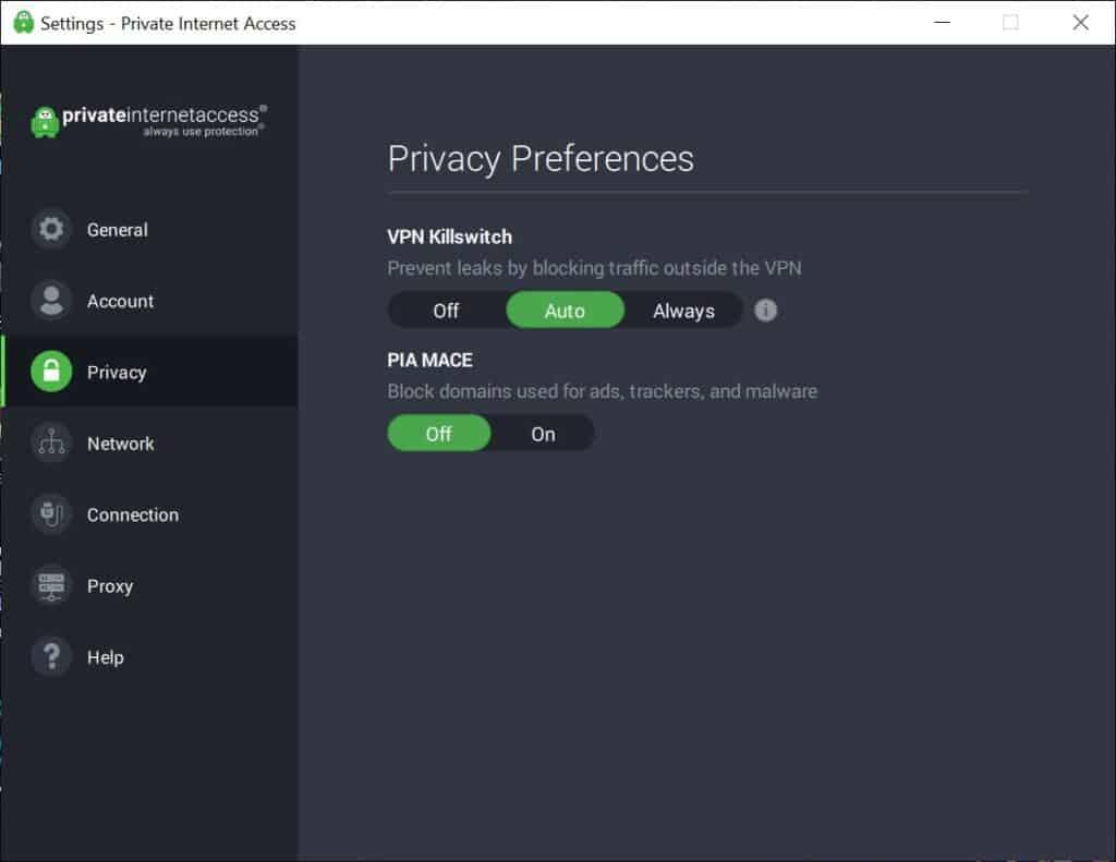pia windows privacy preferences