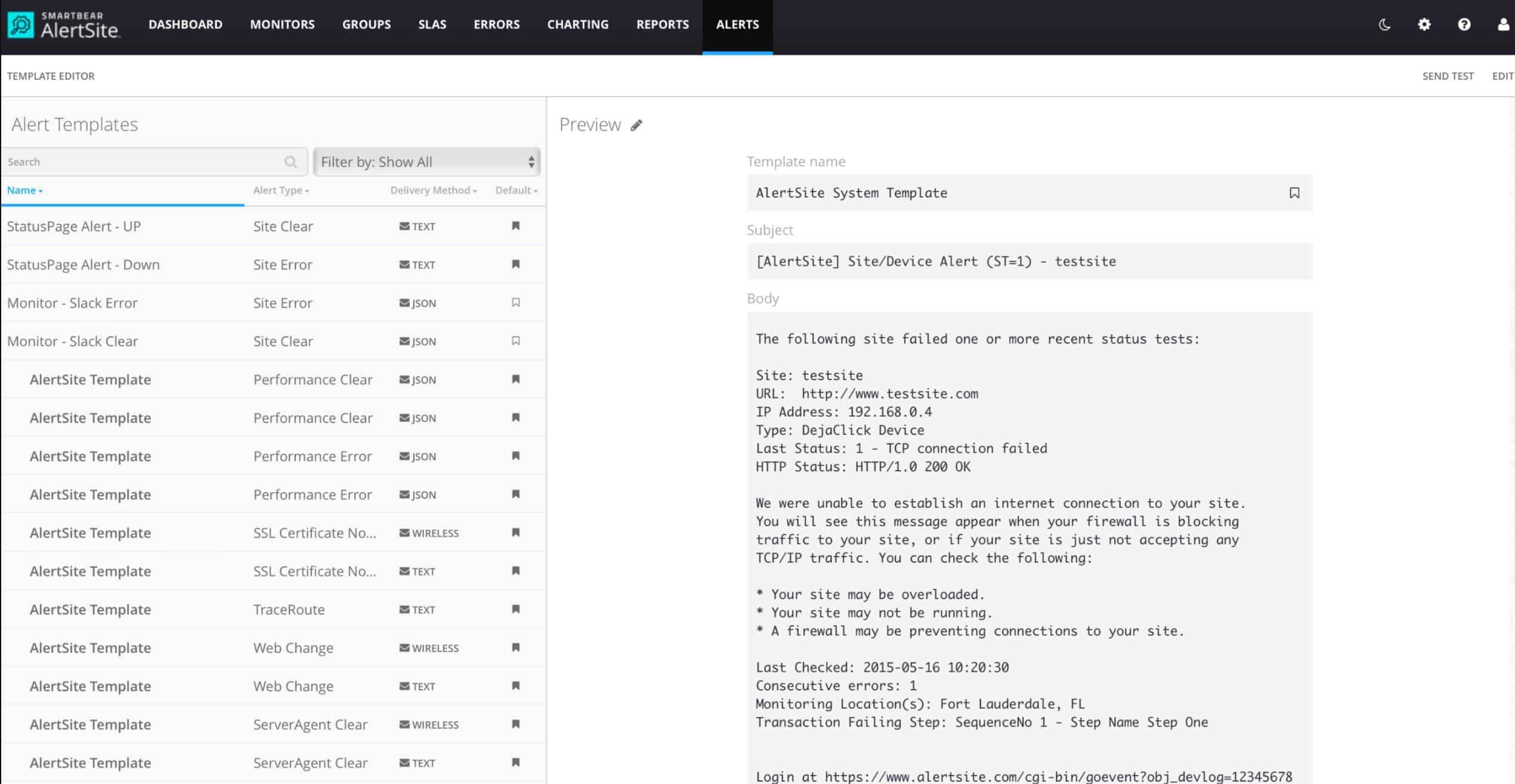 AlertSite Alerts Templates dashboard screenshot