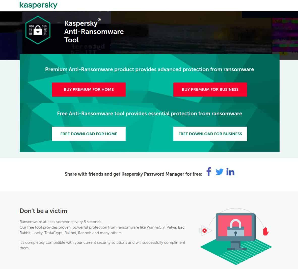 Kaspersky Anti-Ransomware Tool Download Website Screenshot