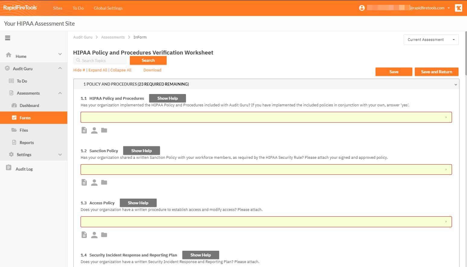 RapidFireTools HIPAA Assesment Site screenshot