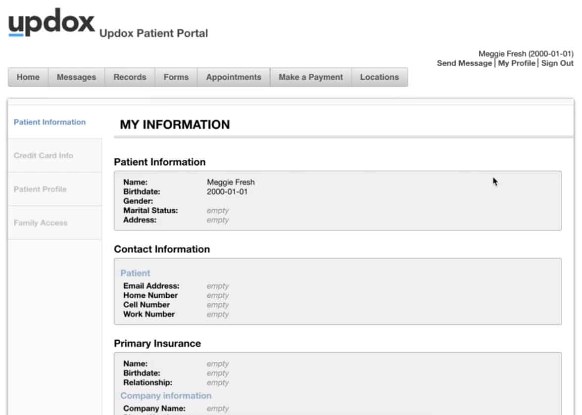 Updox Patient Portal screenshot