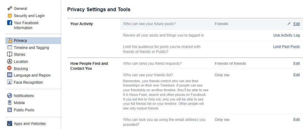 Facebook privacy settings.