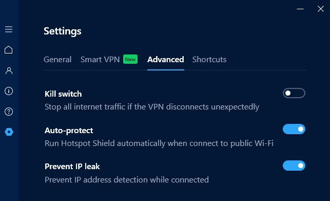 Hotspot Shield settings screen.