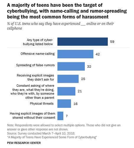 Chart showing the most common types of cyberbullying.