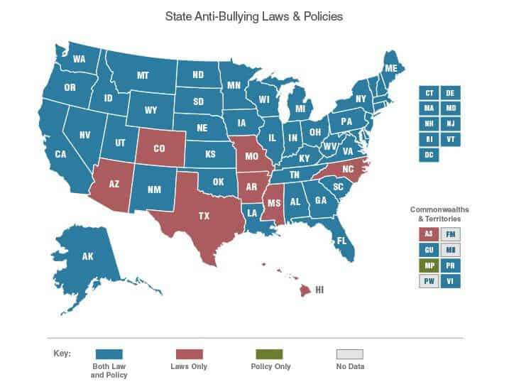 A map showing which US states have anti-bullying laws