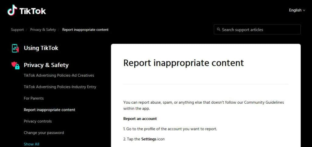 TikTok's page on hoe to report inappropriate content.