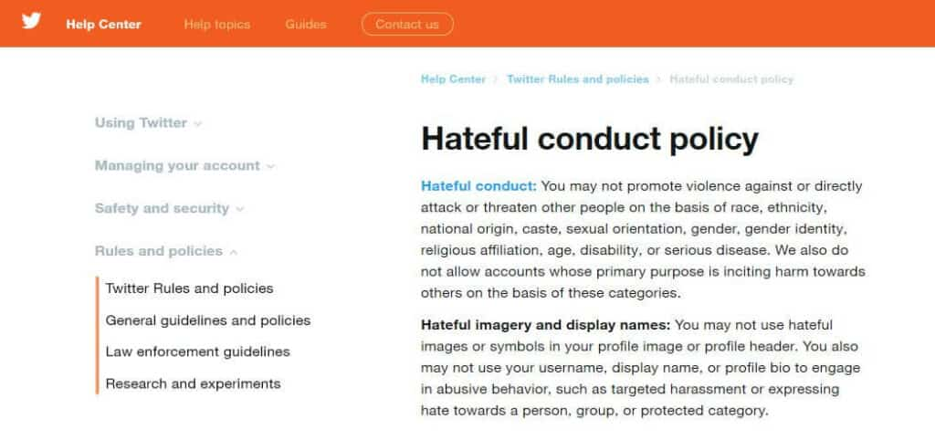 Twitter's hateful conduct policy.