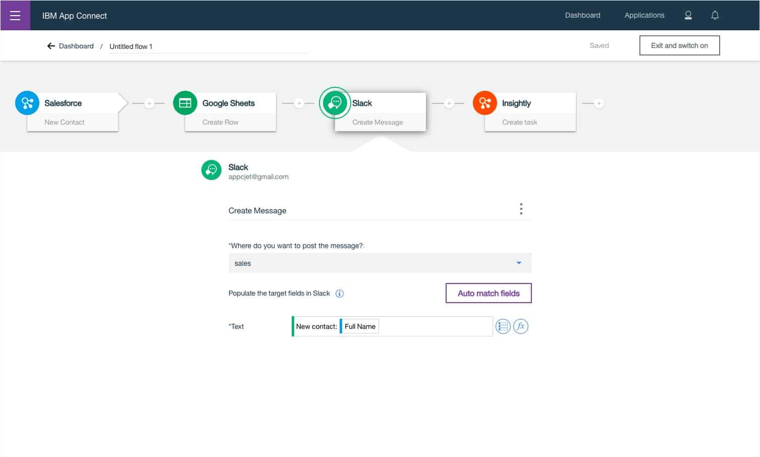 IBM App Connect Dashboard